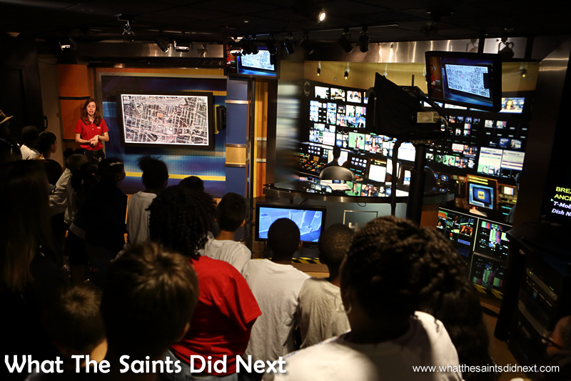 Inside the demonstration news room which can also be used for live broadcasts.