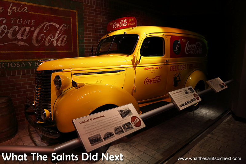 Memorabilia that encapsulates the cultural lifespan of Coca-Cola is on display in the museum, including this bright yellow car. We think this is a Chevrolet but not sure if of the model. Any car enthusiasts with suggestions?