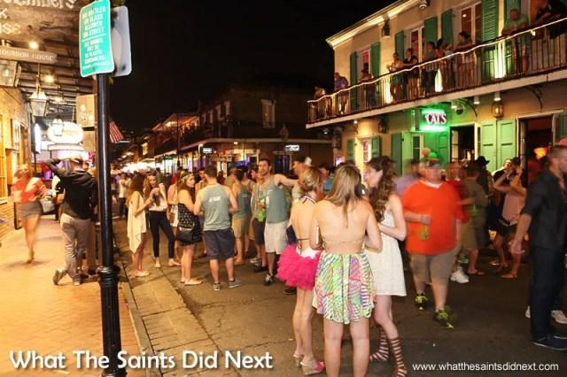 A carnival type atmosphere along Bourbon Street.