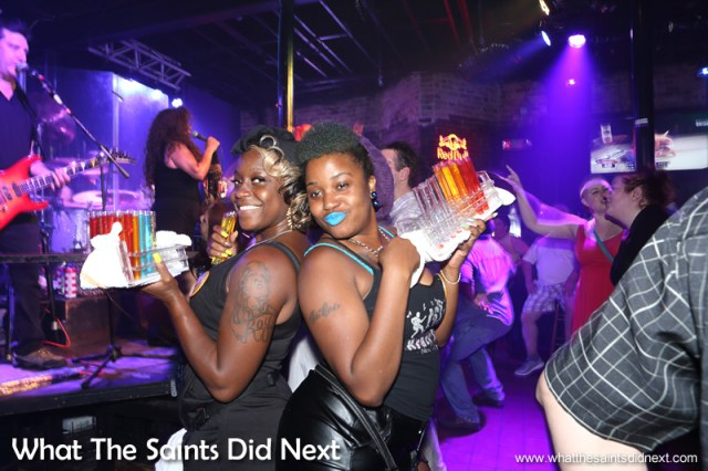 'Shot Girls' on the prowl for customers.  Bourbon Street in New Orleans totally rocks.