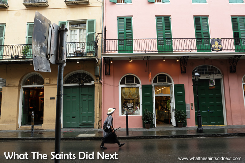 I was surprised to learn the summer months in New Orleans are also the wettest. Our visit to the French Quarter was interrupted each day by heavy rain showers.