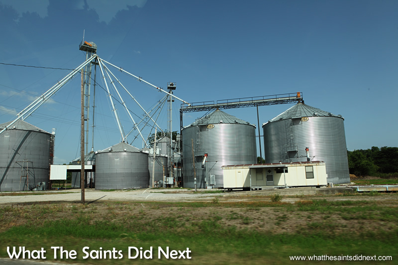 A typical Corn Silo or Grain Escalator, photographed from the car on our road trip. Taken in Louisiana.