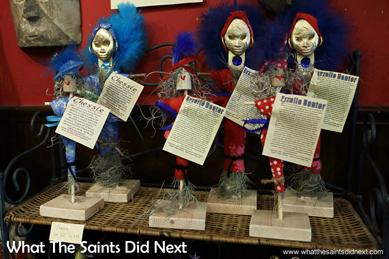 Authentic Voodoo dolls offer specific influences from different loas (spirits) ie love, prosperity or protection.