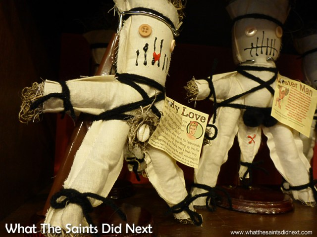 Voodoo dolls of all types can be bought in The French Quarter. Voodoo in New Orleans.