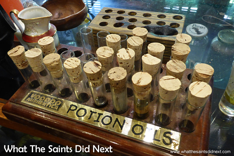 Voodoo potion oils inside the Voodoo Authentica shop.
