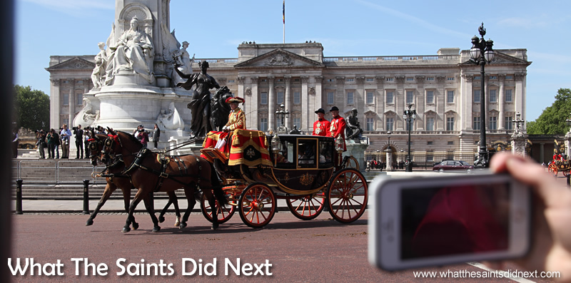 The grand procession is underway from Buckingham Palace, captured by hundreds of camera phones. Queen Elizabeth II, longest reigning British Monarch.