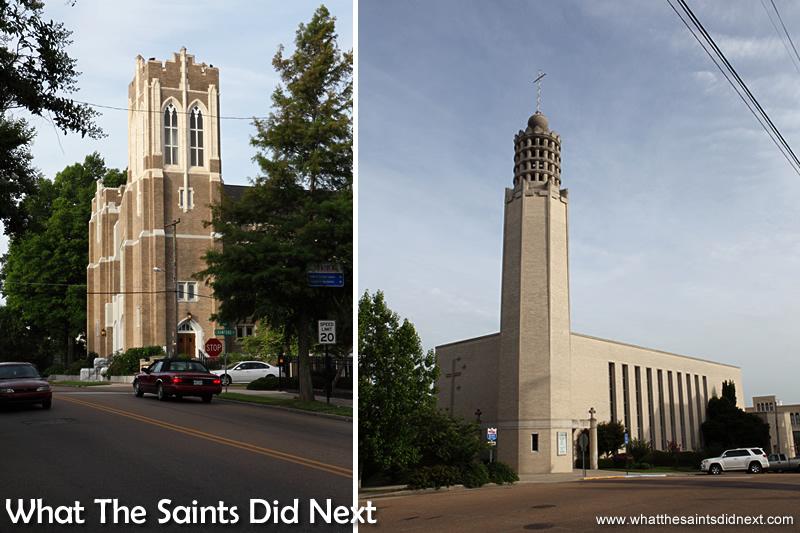 The Methodist Church (left) and St Paul's Catholic Church, in Vicksburg.