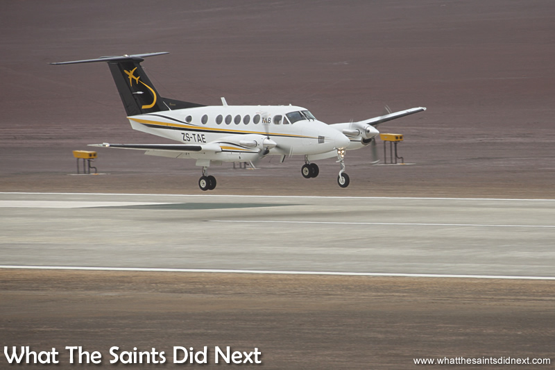 One second before touch down, first flight to St Helena landing.