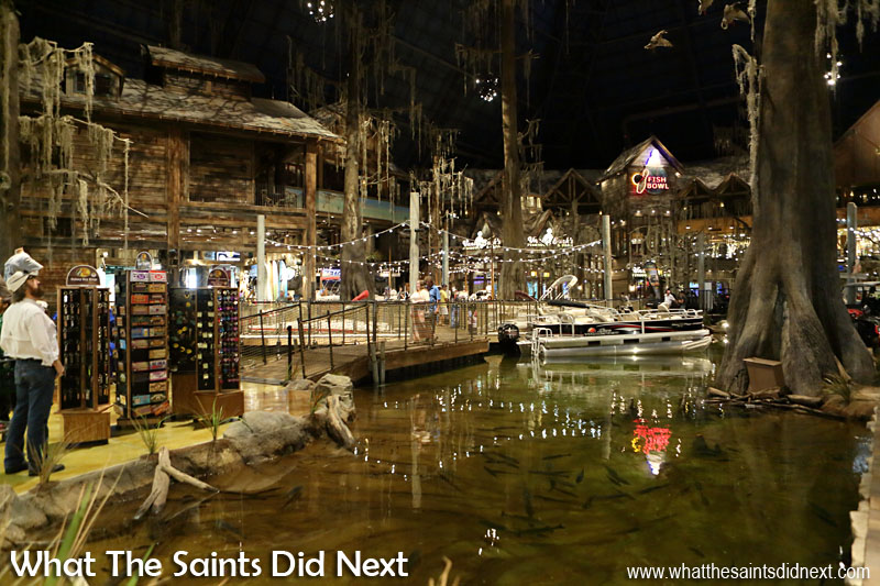 Inside the Bass Pro shop, designed with a swamp theme.