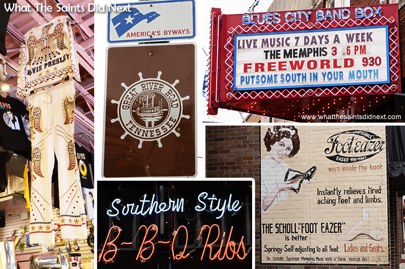Elvis Presley Memphis memorabilia is everywhere, but you could also spend a lot of time just reading all the signage along Beale Street.