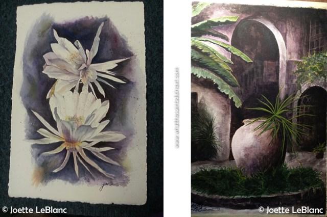 Paintings by Joette. Left, Cereus-ly and right, Cour par Seignouret.