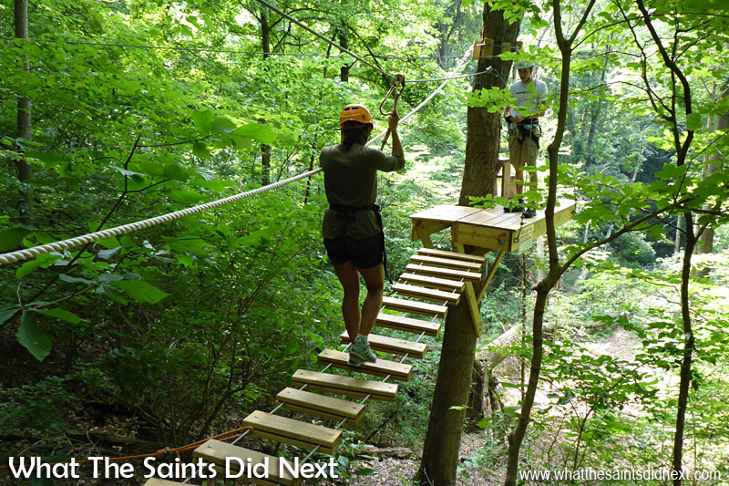 At times, just getting onto the 'take off' platforms was as much of an adventure as the zip lining itself! Zip lining with Music City Ziplines of Nashville.