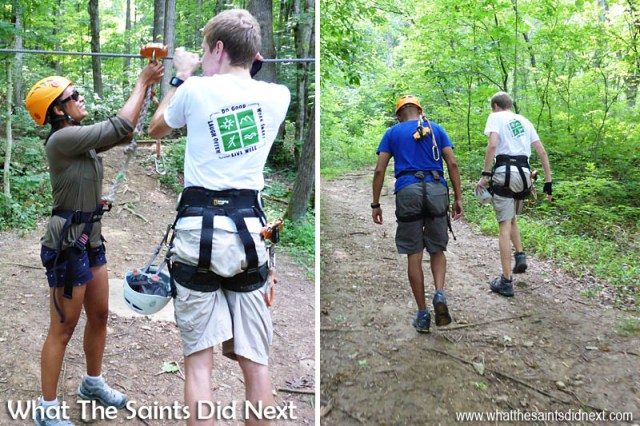 Zip lining with Music City Ziplines of Nashville: The harnesses were quite a snug fit!