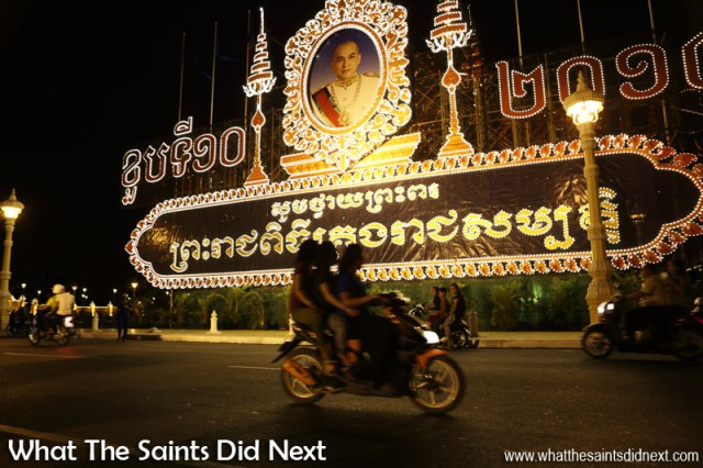 The large billboard of the King of Cambodia, Norodom Sihamoni, on the Riverfront in Phnom Penh. King Sihamoni ascended the throne on 14 October 2004.