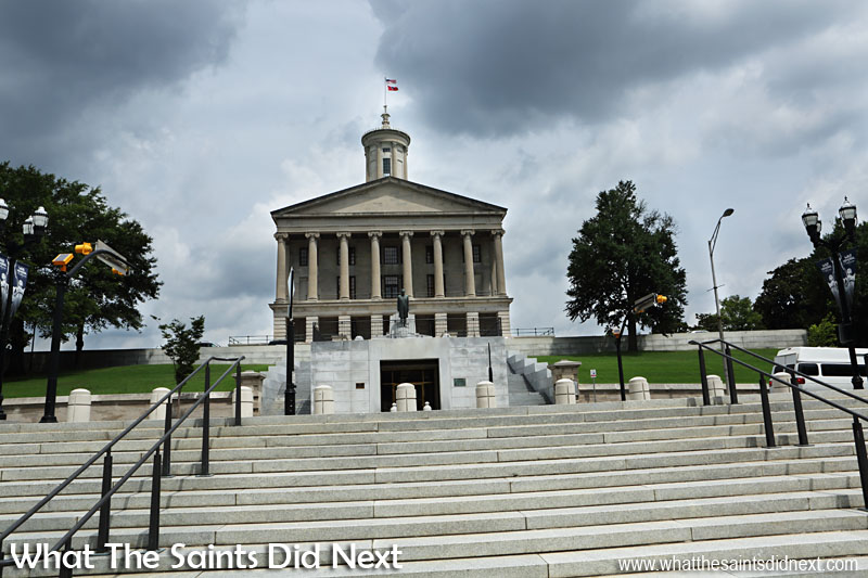 The State Capitol Building sits on the highest point in the city of Nashville, on a hill once known as Cedar Knob. The cornerstone was laid on 4 July, 1845 and the building completed in 1859. The architect who designed the building is entombed in its northeast wall.