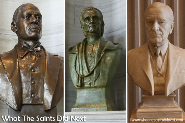 A sample of the busts on display around the building. Left: Sampson W Keeble, the first African American Representative to the Tennessee State Legislature in 1873-1874 Middle: James Knox Polk, President of the United States 1845-1890 Right: Cordell Hull, Captain Fourth Tennessee Volunteer Infantry 1898-1899
