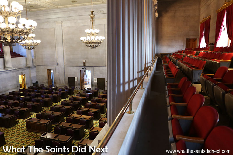 Tennessee State House of Representatives is over-looked by two public galleries with a maximum seating occupancy of 128 on each side.