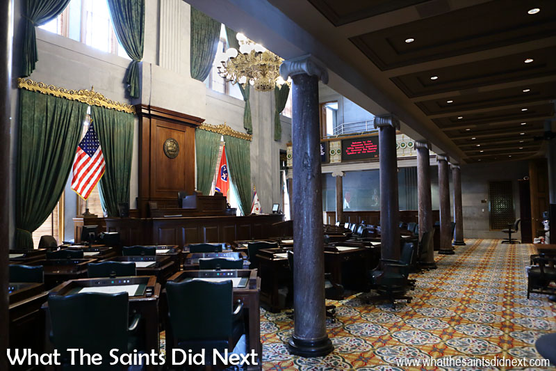 Upper House of the Tennessee State Legislature, the Tennessee State Senate. The constitution allows one third number of senators as legislators, so there are 33. Senators need to be at least 30 years old and are elected to 4 year terms. Elections are staggered; even number districts vote, then two years later odd number districts vote, meaning half the senators are up for election every two years. There is no limit on the number of times a senator can run for office.