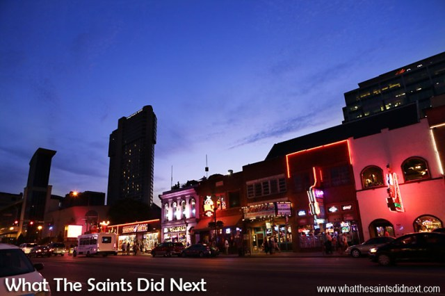 Broadway Street in Nashville as night is falling. A Night Out In The Nashville Honky Tonks.