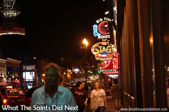 The neon lights of Broadway. Even on a Wednesday there are a lot of people out for the night with all the honky tonks open with live entertainment.