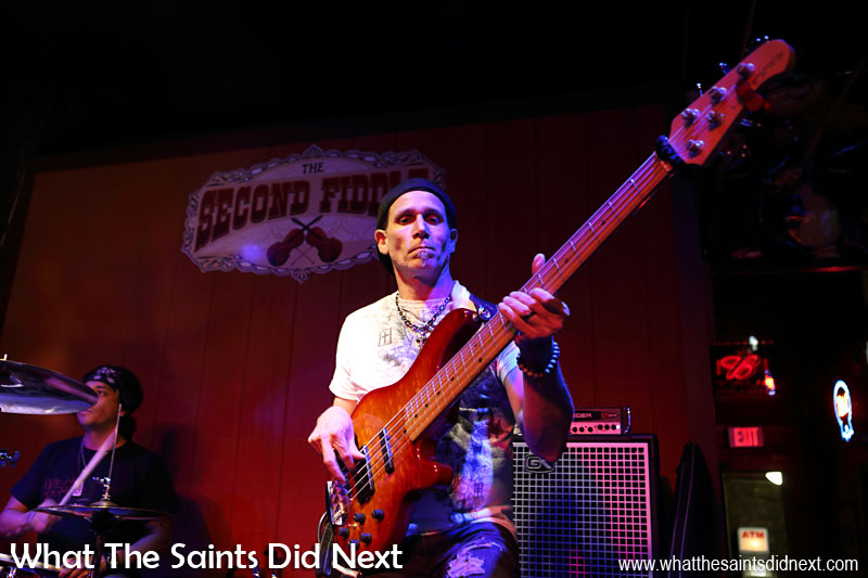Casey Edgar's bass guitarist feeling the groove in the Second Fiddle Nashville.