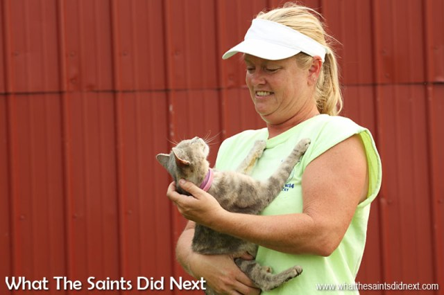 """""""On the farm we breed the Belgians, we have a mule, walking horses and of course my lovely cats. This one thinks she's a dog,"""" says Stephanie, laughing as she picks up Sally."""