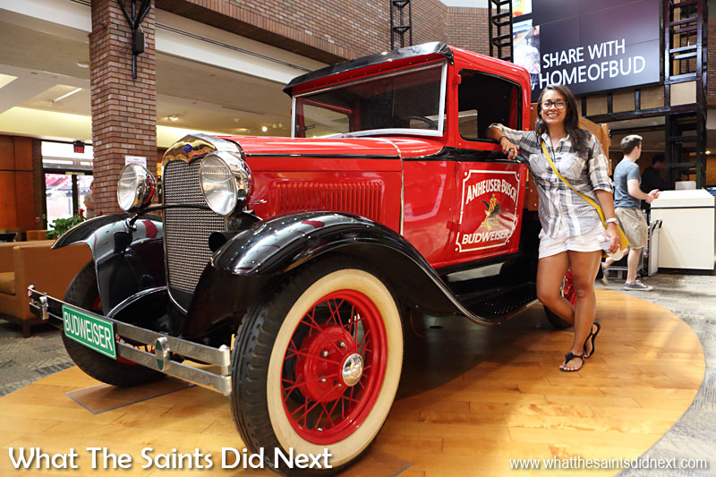 Budweiser Tour. Nice wheels. A 1931 Hawkeye Stake Truck on display in the main entrance lobby was hard to resist.