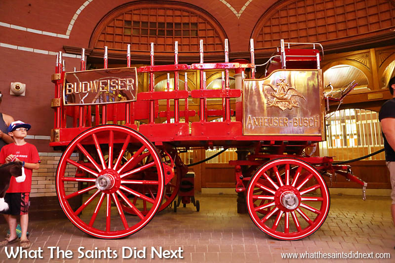 Budweiser wagons inside the stables. The Budweiser Brewery tour St Louis.