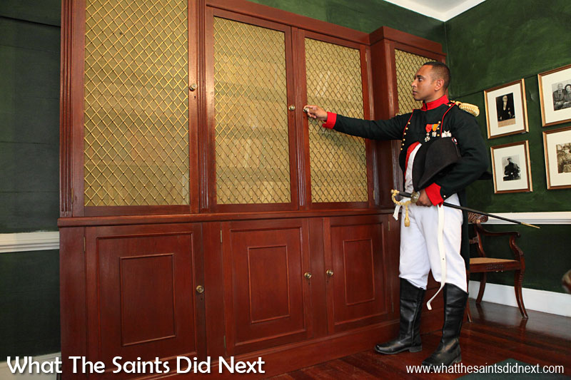 This is a specially made replica of a bookcase that stood in Longwood House during Napoleon's time.
