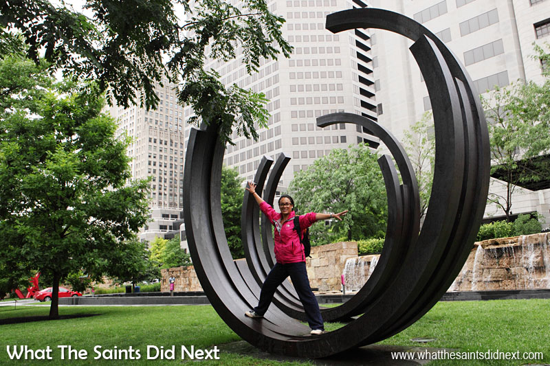 The best art is the pieces we can interact with! Arcs:  2 Arcs x 4, 230.5 Degrees Arc x 5.  1999 steel.  Bernar Venet (French) born 1941. In the Citygarden Outdoor Art Gallery, St Louis, Missouri.