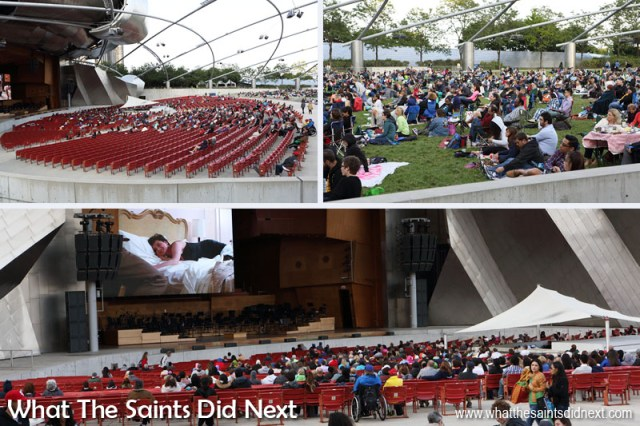 The Jay Pritzker Pavilion is the centrepiece of Millennium Park. We watched one of the evening films shown on the big screen here. The Pavilion has 4,000 fixed seats, plus capacity for another 7,000 on the lawn behind the main seats. The whole park and facility is free and quite well used.