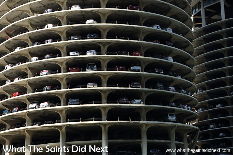 Marina City, Chicago, is a residential/commercial twin building complex, each tower 65 storey's high. It's nickname is the 'corn cobs.' Built right on the Chicago River, it attract a lot of attention, especially the bottom 19 floors which are an exposed parking garage that can park up to 896 cars each. The building has appeared in many films and tv shows, including 'The Hunter' starring Steve McQueen in 1980 and the 1985 season premiere of Knight Rider.