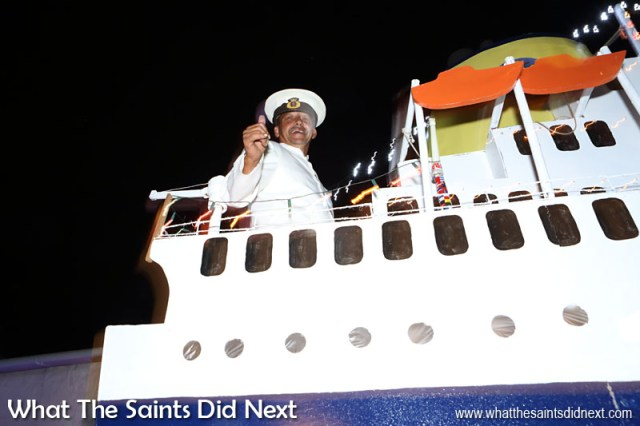 St Helena Festival of Lights 2015 - Captain Alan steering the RMS through Jamestown for the vessel's last Christmas.