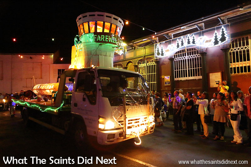 St Helena Festival of Lights 2015 - The new airport control tower does a fly-by of The Market building.