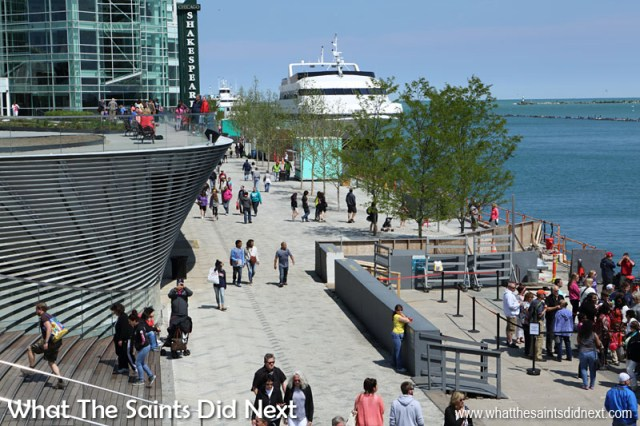 The Navy Pier, Chicago, was built in 1916 at a reported cost of $4.5 million, primarily to serve as a cargo facility for freighters on Lake Michigan. Today it lays claim to being Chicago's number one tourist attraction.