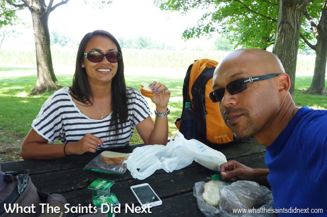 Ok, so sandwiches as part of our best food memories? This is us having our packed lunch at a rest stop picnic area along a highway in the state of Pensylvannia, USA, during our road trip. This was one of the many ways we kept to budget while travelling, and with the huge choice in the supermarkets we always looked forward to our tasty sandwiches at lunchtime!