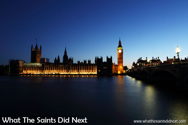 The Palace of Westminster in London, more commonly known as the Houses of Parliament. This classic view of the famous building was taken from the south bank of the River Thames on a beautiful clear summer night. For more about what makes London so special, Click Here.