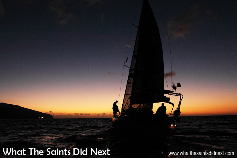 Yacht, Vulcan 44, arriving after dark at St Helena in the Governor's Cup Yacht Race. Photographing the yachts finishing was particularly challenging as most of them arrived at night. For the full story and all the pictures, Click Here.