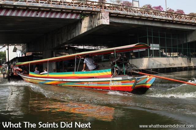 The colourful (and noisy) long tail boats in Bangkok, Thailand. We took a tour on one of these to see the canals, or Klongs, which weave their way through the western side of the Chao Phraya River in Bangkok. It was a memorable day for a few reasons, not least because we ended up having a little 'disagreement' along the way!