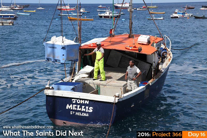'Ice' 16 Jan 2016, 10:19 - 1/640, f/10, ISO-200 What The Saints Did Next - 2016 Project 366 Deep sea fishing boat the 'John Mellis' loading ice at the Jamestown wharf, St Helena, before heading offshore to the sea mounts on fishing trip expected to last 6 days.