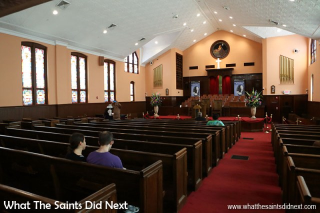 The Historic Ebenezer Baptist Church Heritage Sanctuary and Fellowship Hall, on Auburn Avenue, the spiritual home of Dr Martin Luther King, Jr. It was here that Dr King learned the Christian principles and values that helped form the basis of his nonviolent direct action philosophy toward racial discrimination. Dr Martin Luther King, Jr., was baptised here at the age of five and preached his first sermon in the Heritage Sanctuary at age 17. The church has now been designated a National Historic Landmark. The church is open to the public daily, 9am – 5pm.