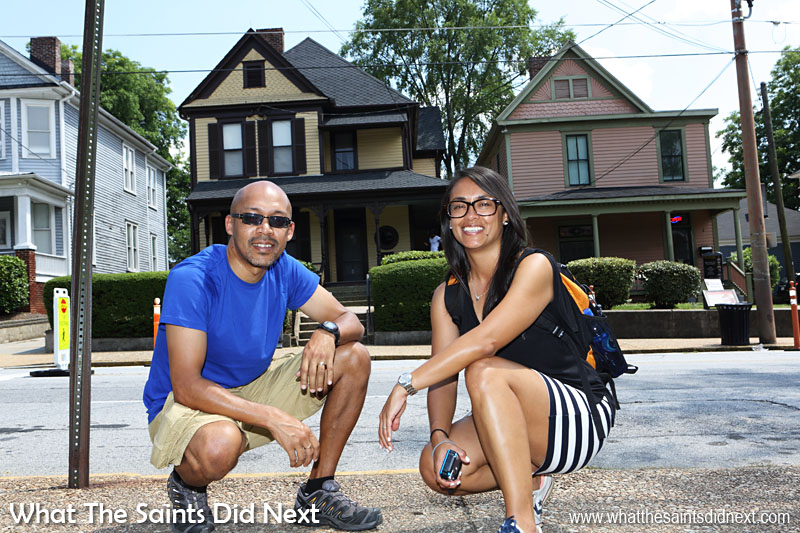 Here we are at 501 Auburn Avenue, (yellow house) birthplace of Martin Luther King, Jr., and his boyhood home for his first 12 years. The house dates to 1895. Its 14 rooms were enough to house an extended family, which it did throughout Martin Luther King, Jr's youth. At the time of King's birth, the home belonged to his maternal grandparents – they lived downstairs, he, his siblings, and his parents upstairs. The arrangement was typical of families along Auburn Avenue.