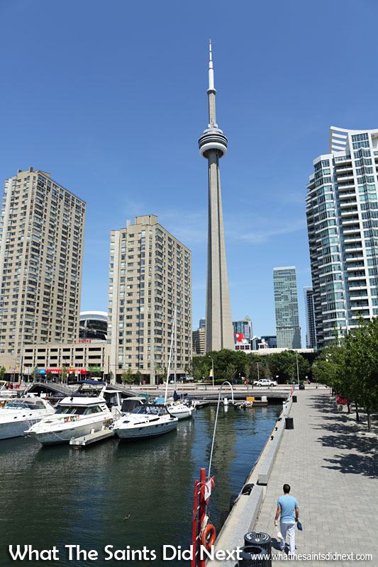Canada's CN Tower, vital statistics: Lookout altitude, 346 metres. Skypod altitude, 447 metres. Top of Tower, 553 metres.