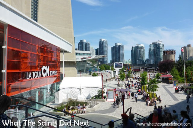 The CN Tower is located two blocks from Union Station in the heart of the Entertainment District, adjacent to the Rogers Centre, near the Metro Toronto Convention Centre and Air Canada Centre.