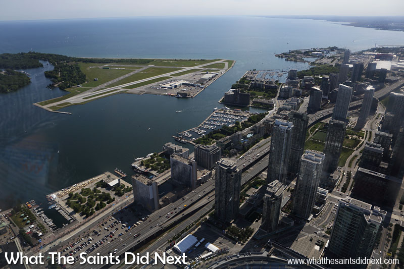 The views from the Lookout Deck on CN Tower include the Toronto Island runway.