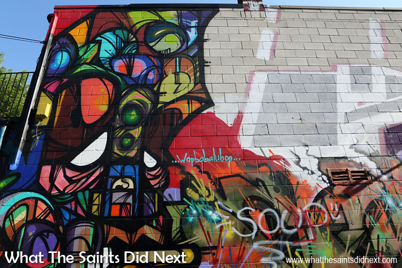 Graffiti in Toronto - An eclectic mix of colours, lines and shapes and a reference to 'Wopbabalubop' days.