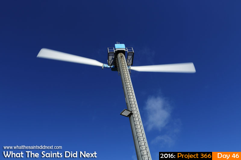 'Farmer' 15 Feb 2016, 16:34 - 1/60, f/22, ISO-100 What The Saints Did Next - 2016 Project 366 Turbine spinning in the wind farm on Deadwood Plain, St Helena Island.