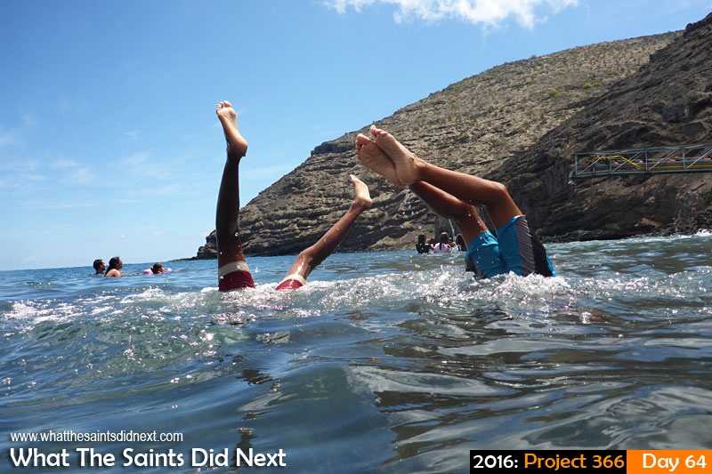 'Limpets' 4 March 2016, 11:49 - 1/1000, f/3.3, ISO-100 What The Saints Did Next - 2016 Project 366 Children swimming doing hand stands in the sea at Ruperts Beach, St Helena.