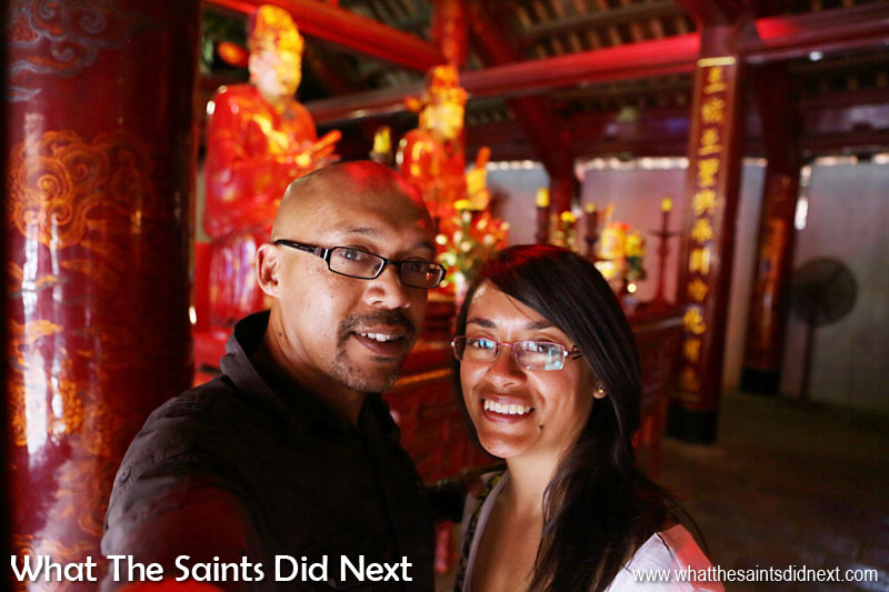 Us inside the Sage Sanctuary of the Temple of Literature in Hanoi. We couldn't resist a selfie!