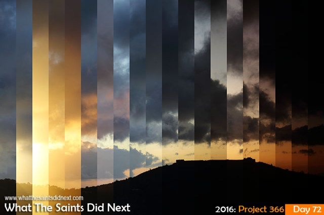 'Full flush' 12 March 2016, 18:21 to 19:02 - 1/320 to 1/25, f/8, ISO-200 What The Saints Did Next - 2016 Project 366 Time-lapse photograph of High Knoll Fort on St Helena at sunset.
